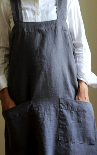 Linen Cross-Back Square Apron
