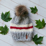 Adult Canadiana Toque with Faux Fur Pompom