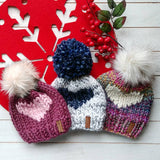 Adult Follow Your Heart Toque with Faux Fur Pompom