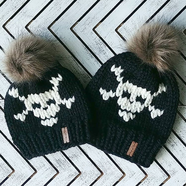 Child Skull and Crossbones Toque with Faux Fur Pompom