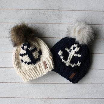 Adult Anchors Away Toque with Faux Fur Pompom