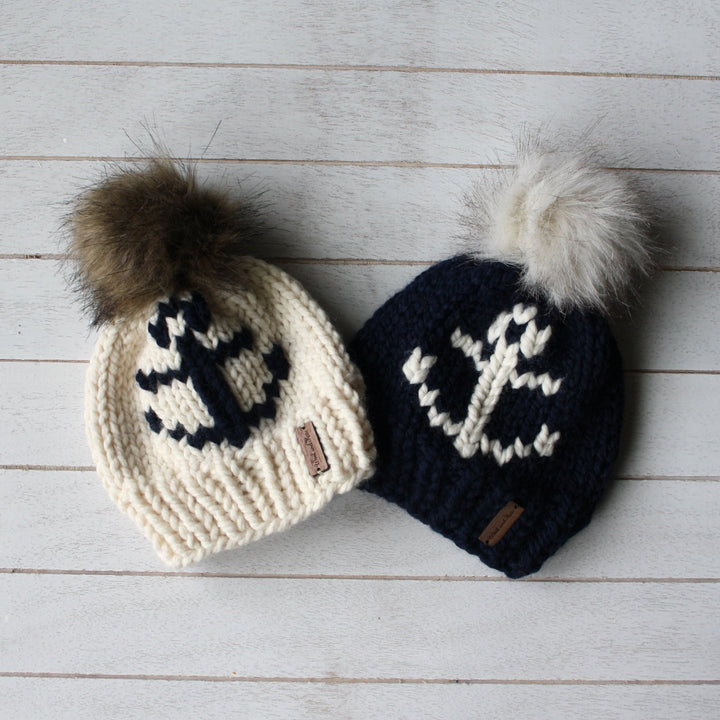 Baby Anchors Away Toque with Faux Fur Pompom