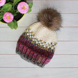 Child Mini Hearts Toque With Faux Fur Pompom