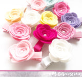 Felt rose fringe clips