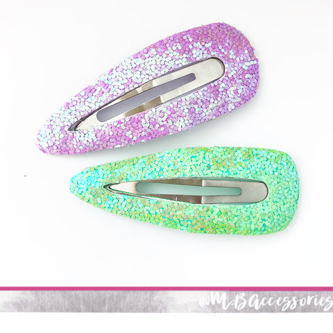 Sale - large glitter snap clips
