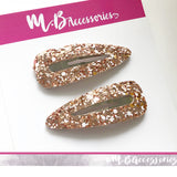 Rose gold and white glitter snap clip (60mm)