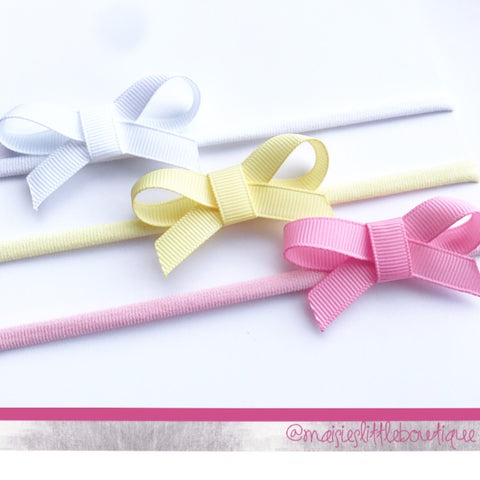 Little ribbon bow - Nylon headband - available in 72 shades