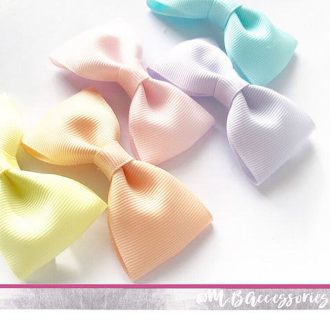 Ribbon pinch bow - Nylon headband - available in 72 shades