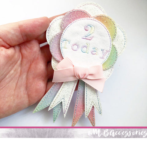 Rainbow number birthday badge