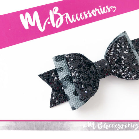 Grey and black leopard print bow