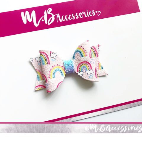 Mini rainbow print bow
