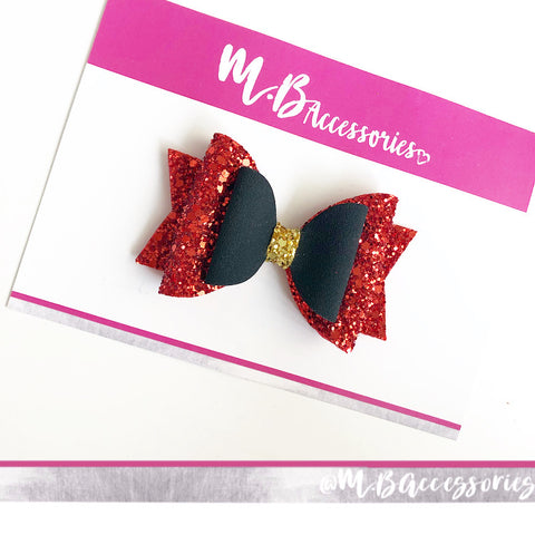 Red, Black and Gold Santa bow