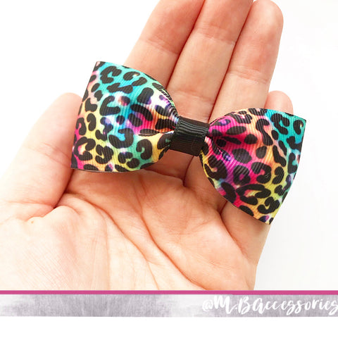 Rainbow Leopard print pinch bow