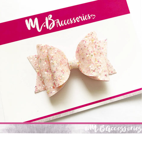 Pink multi colour glitz bow