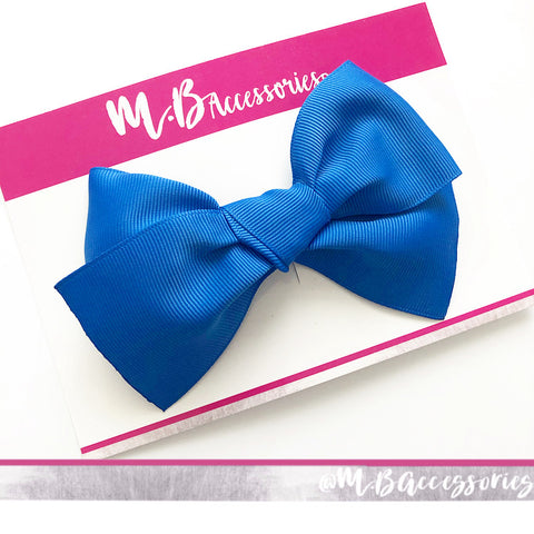 Large tied ribbon bow - Single clip - available in 72 shades