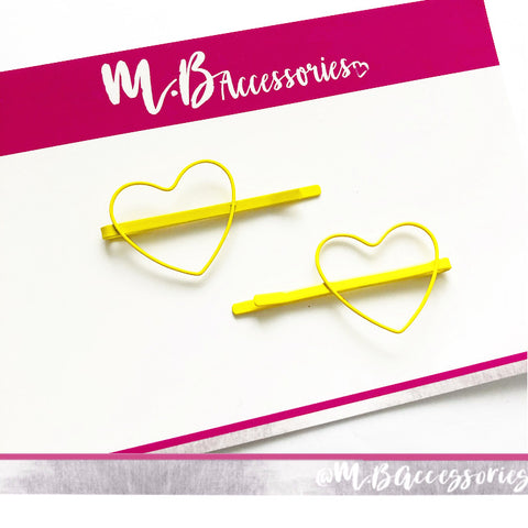 Metal heart sliders - yellow