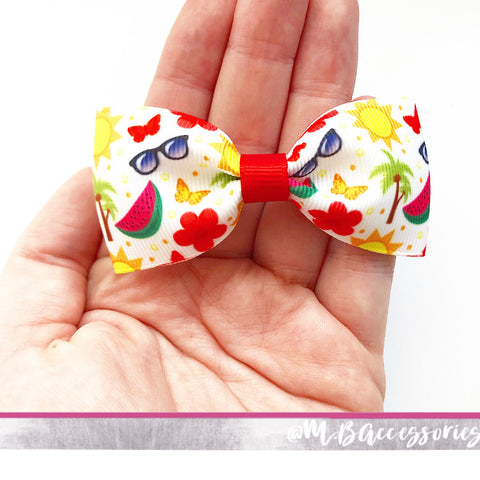 Summer holiday print pinch bow