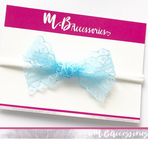 Simple lace tied bow - 10 colours available