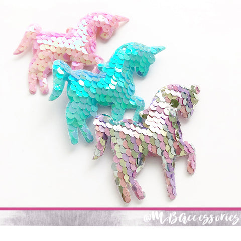 Sequin unicorn fringe clip