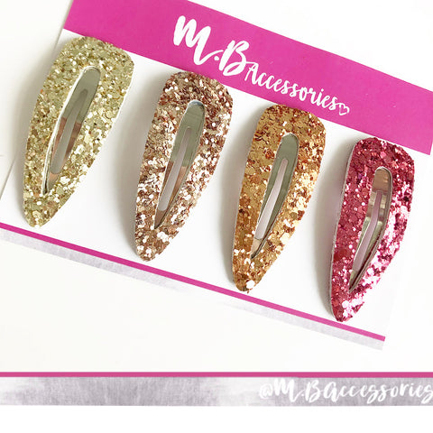 Set of 4 - 6cm glitter snap clips