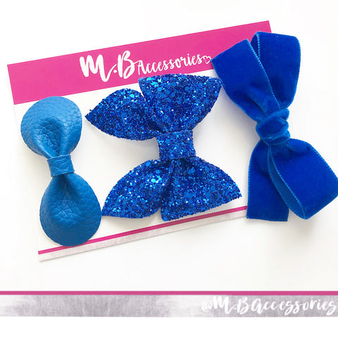 School bow set - Royal blue