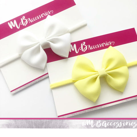Double ribbon pinch bow - Nylon headband - available in 72 shades