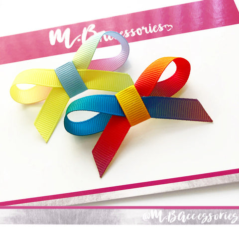 Rainbow Ombre little ribbon bow