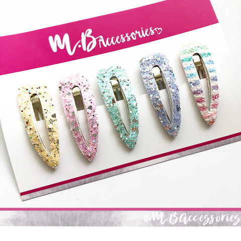 Rainbow glitter snap clip set