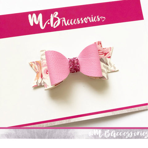Pink floral print bow