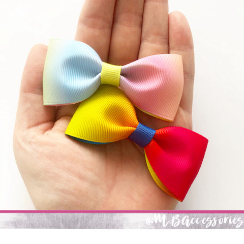 Rainbow Ombre ribbon pinch bow