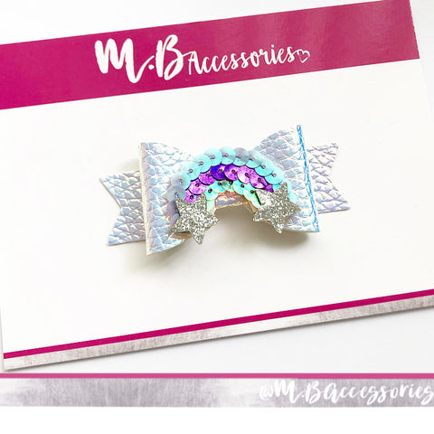 Holographic sequin rainbow bow