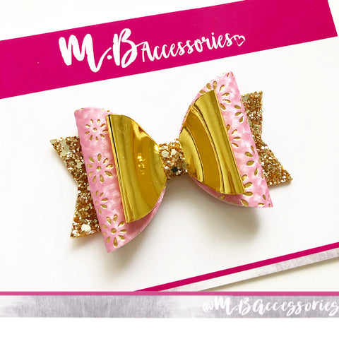 Pink and gold flower print bow
