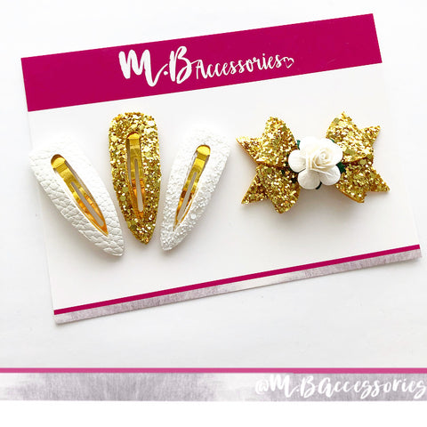 White and gold clip set