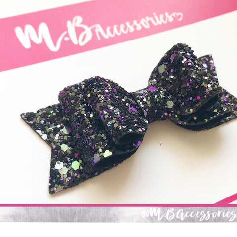 Black, purple and blue glitter bow