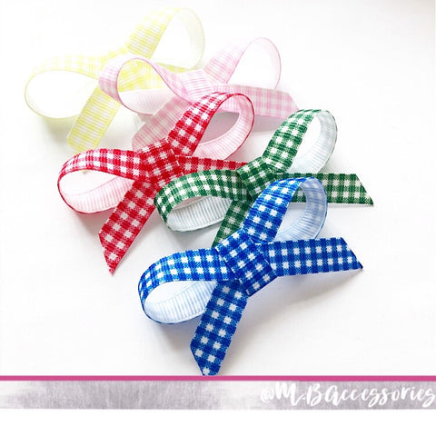 Gingham little ribbon bow