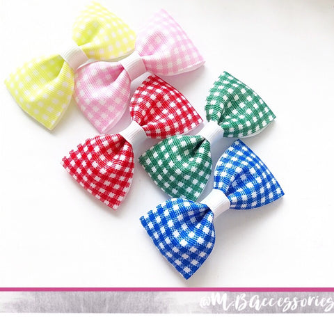 Gingham ribbon pinch bow