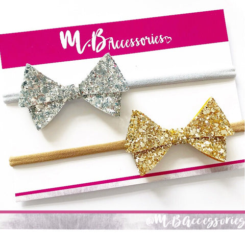 Metallic glitter bow