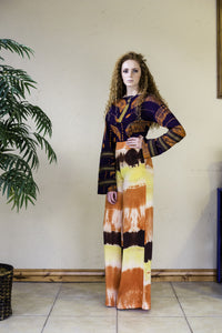 ORANGE PRINT HAND-TIE&DYE PALAZZO TROUSERS