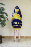 HAND-BATIK AND TIE-DYE PRINT HOODED DRESS | LONG TOP WITH DETAILS IN ASO OKE