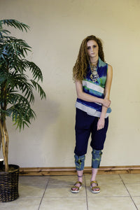 BLUE AND GREEN PRINT HAND-TIE&DYE DRAPE GILLET