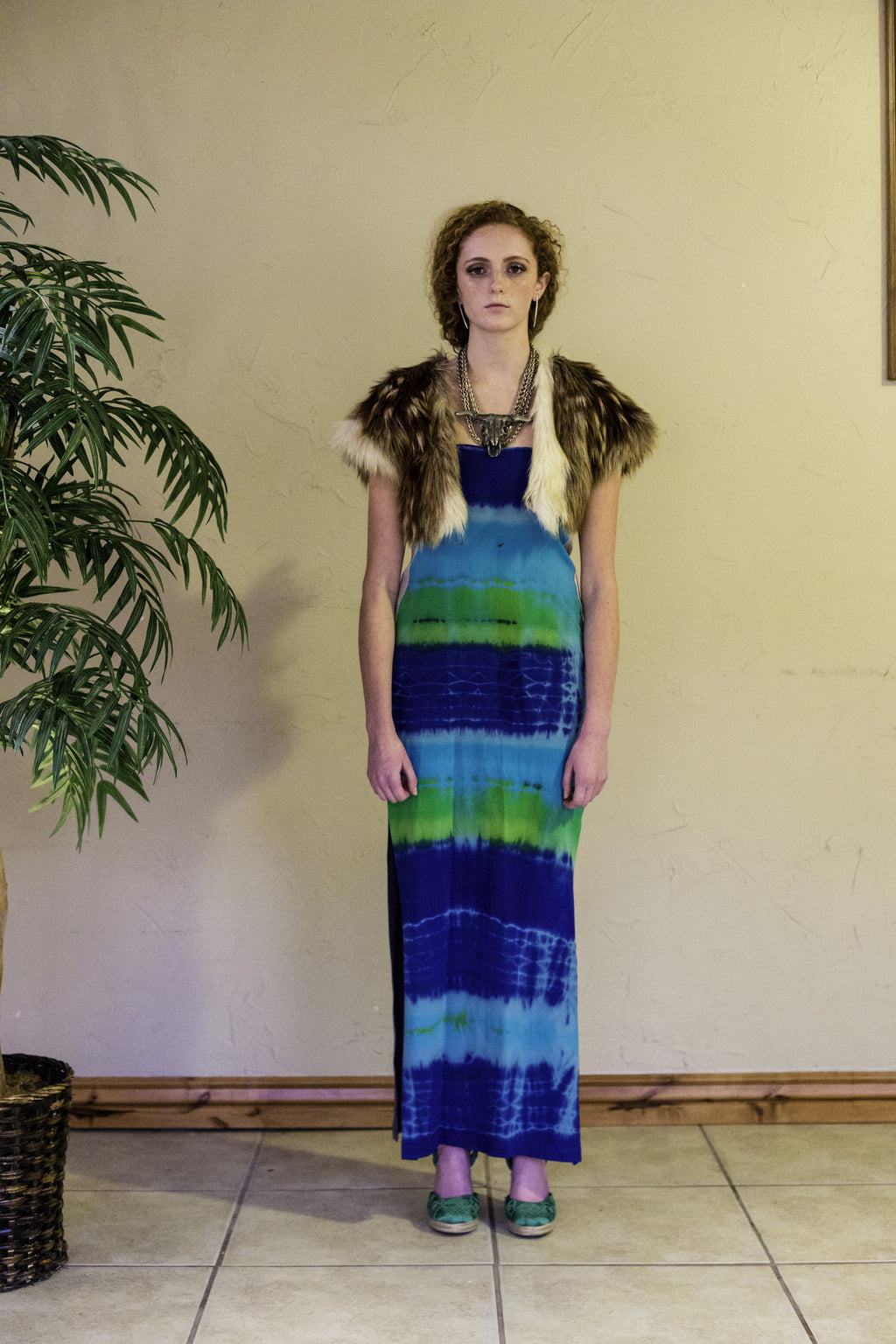 BLUE AND GREEN PRINT HAND-TIE&DYE LONG DRESS | HIGH-WAIST SKIRT