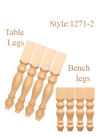 "29""Table Legs & 18"" Bench Legs-Style: TL 1271 -2 sets"