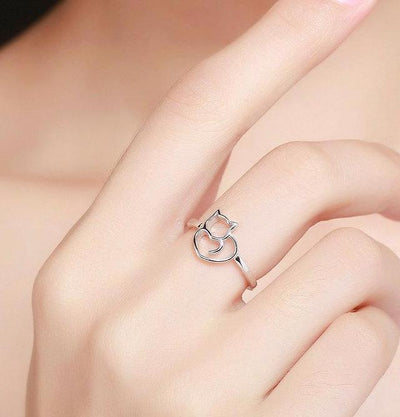 Sterling Silver Cat Heart Ring