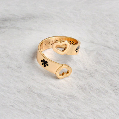 Heart Paw Print Ring