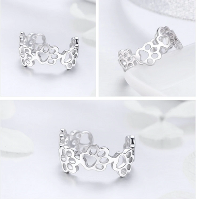 925 Sterling Silver Adjustable Cat And Dog Footprints Paw Ring