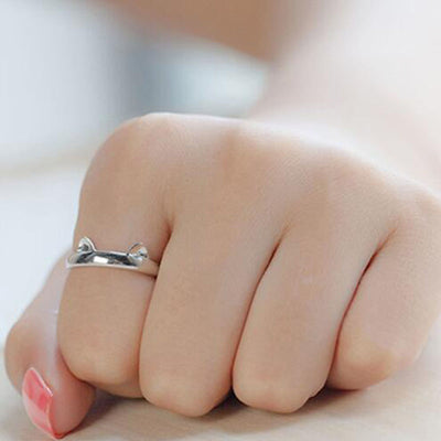 Silver Cat Ears Paws Ring