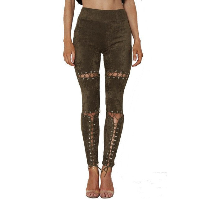 New 2017 Lace Up Suede Pants