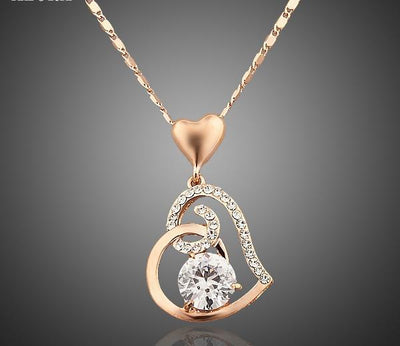 Rose Gold Crystal Heart Necklace