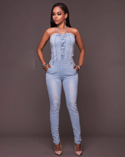 Blue Denim Jumpsuit Off Shoulder