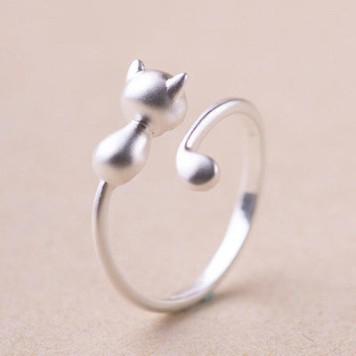 Silver Adjustable Cat Ring